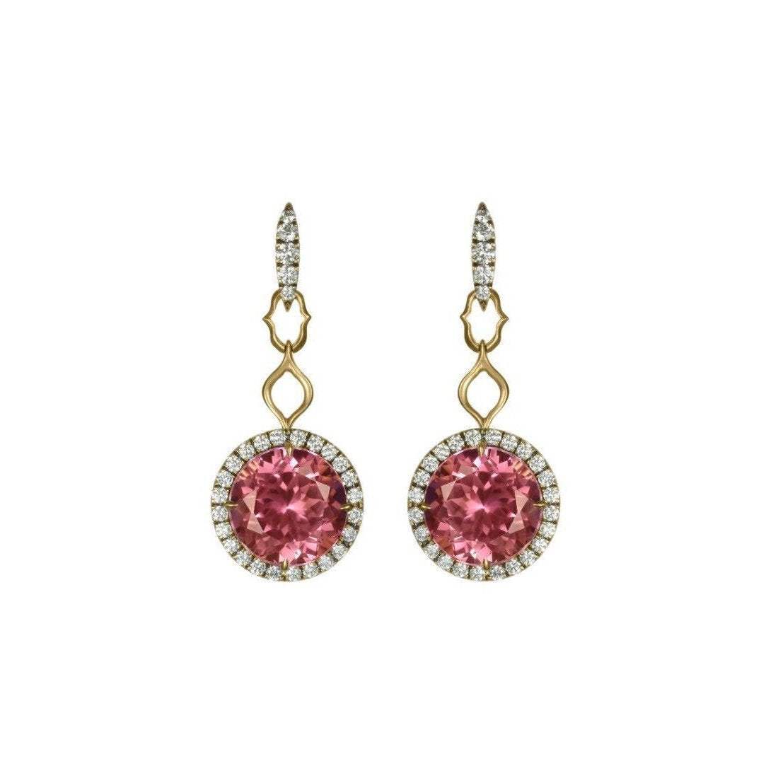 18kt Yellow Gold and Pink Tourmaline Statement Drop Earrings