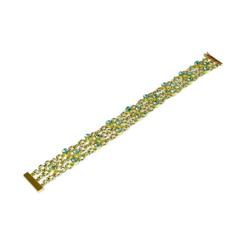 18kt Yellow Gold Catena Bracelet with Aquamarines-Bracelets-Serena Fox-JewelStreet