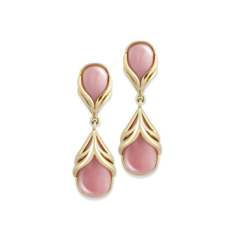 18kt Yellow Gold Earrings Pink Opal-Earrings-Chavin Couture-JewelStreet