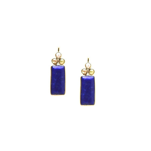 18kt Yellow Gold Earrings With Lapis and Champagne Diamond-Earrings-Tresor-JewelStreet