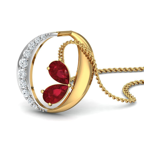 18kt Yellow Gold Earrings With Pear Cut Rubies and Round Shape Diamonds-Necklaces-Diamoire Jewels-JewelStreet