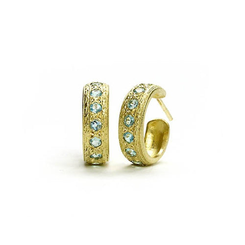 18kt Yellow Gold Engraved Apatite Hoops-Earrings-Julia Lloyd George-JewelStreet