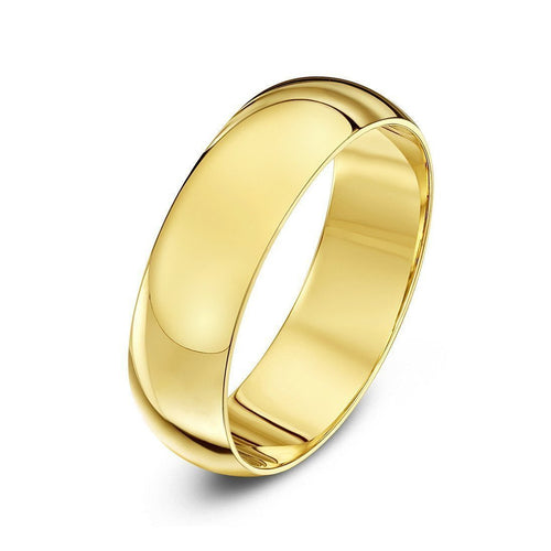 18kt Yellow Gold Extra Heavy D-Shape Wedding Ring ,[product vendor],JewelStreet