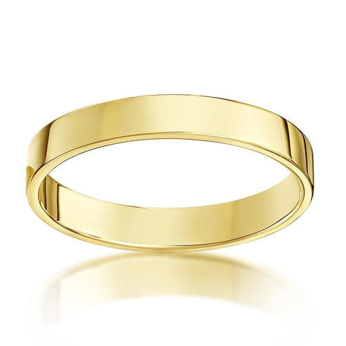 18kt Yellow Gold Flat Court-Shape Wedding Ring (Available In Various Widths)-Rings-Star Wedding Rings-JewelStreet