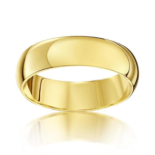18kt Yellow Gold Heavy D-Shape Wedding Ring ,[product vendor],JewelStreet