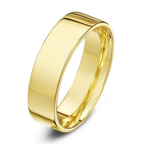 18kt Yellow Gold Heavy Flat Court-Shape Wedding Ring (Available In Various Widths)-Rings-Star Wedding Rings-JewelStreet
