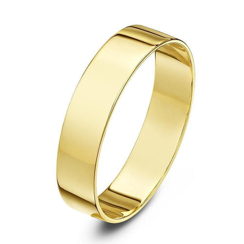 18kt Yellow Gold Heavy Flat Wedding Ring (Available In Various Widths)-Rings-Star Wedding Rings-JewelStreet