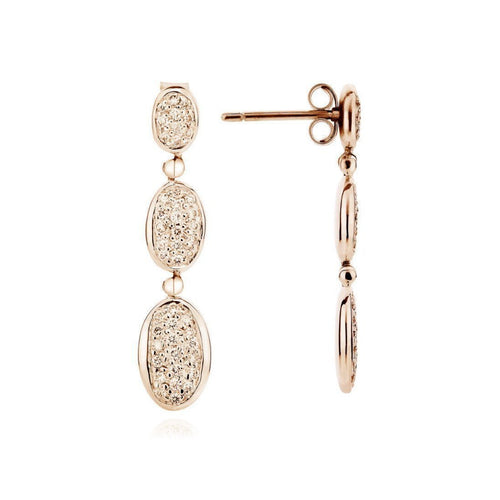 18kt Yellow Gold Parsian Pavé Diamond Earrings-Earrings-Augustine Jewels-JewelStreet