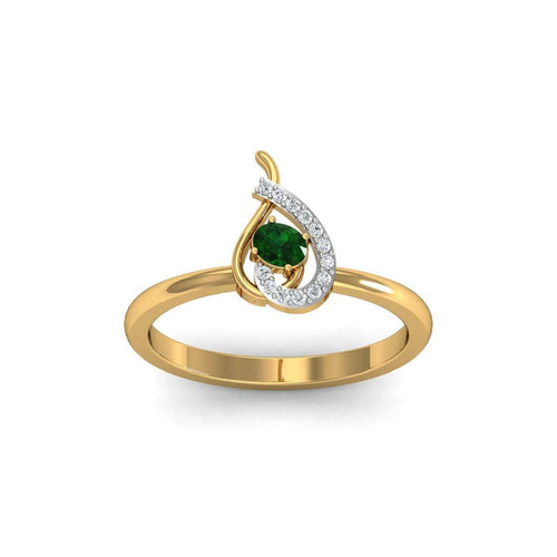 18kt Yellow Gold Pave 0.04ct Diamond Infinity Ring With Emerald ,[product vendor],JewelStreet