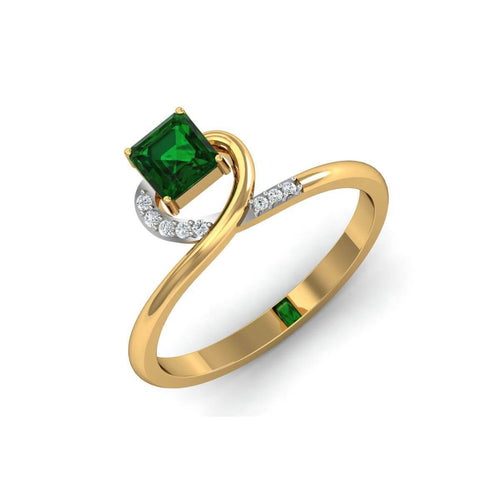18kt Yellow Gold Pave 0.05ct Diamond Infinity Ring With Emerald ,[product vendor],JewelStreet