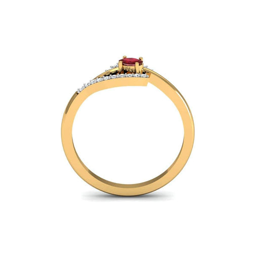 18kt Yellow Gold Pave 0.10ct Diamond Infinity Ring With Ruby ,[product vendor],JewelStreet