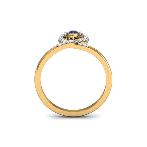 18kt Yellow Gold Pave 0.14ct Diamond Infinity Ring With Sapphire ,[product vendor],JewelStreet