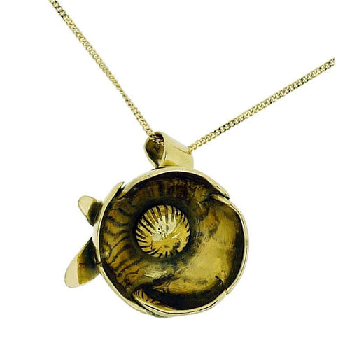 18kt Yellow Gold Peony Bud Pendant, Paeonia Officinalis-Necklaces-Rachel Helen Designs-JewelStreet