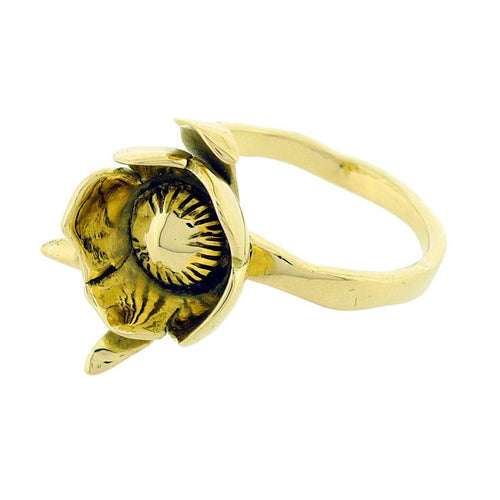 18kt Yellow Gold Peony Bud Ring - Paeonia Officinalis-Rings-Rachel Helen Designs-JewelStreet