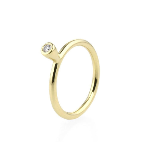 18kt Yellow Gold Stacking Ring With Diamond - 0.06ct-Rings-Prism Design-JewelStreet