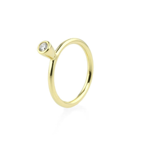 18kt Yellow Gold Stacking Ring With Diamond - 0.10ct-Rings-Prism Design-JewelStreet