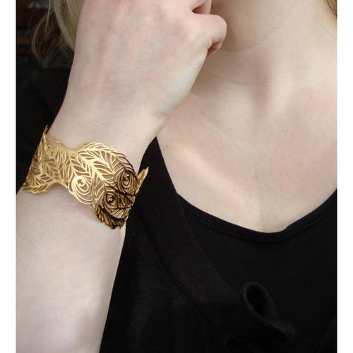 18kt Yellow Gold Vermeil Peacock Bangle-Bracelets-Harriet Bedford-JewelStreet
