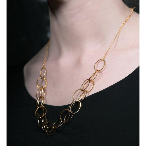 2 Line Gold Cascade Necklace-Necklaces-Heather O Connor-JewelStreet
