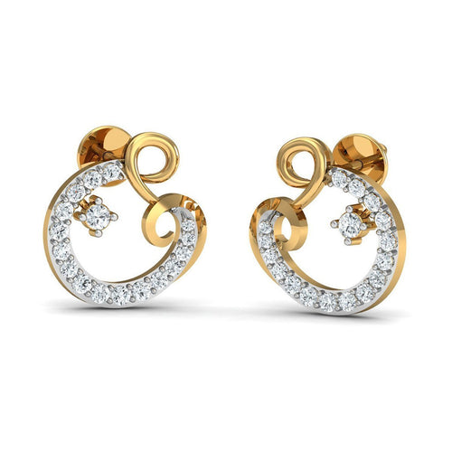 34 High Quality Diamonds and Hand-carved in 14kt Yellow Gold Earrings-Earrings-Diamoire Jewels-JewelStreet