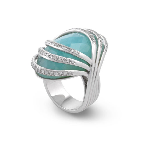 925 Silver Ring with Blue Opal-Rings-Chavin Couture-JewelStreet