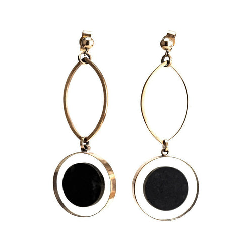 9ct Gold Marble Circle Earrings ,[product vendor],JewelStreet