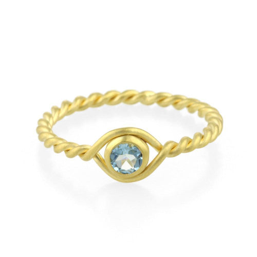 9kt Gold Aquamarine Twist Ring-Rings-Prism Design-JewelStreet