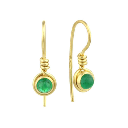 9kt Gold Emerald Earrings-Earrings-Prism Design-JewelStreet