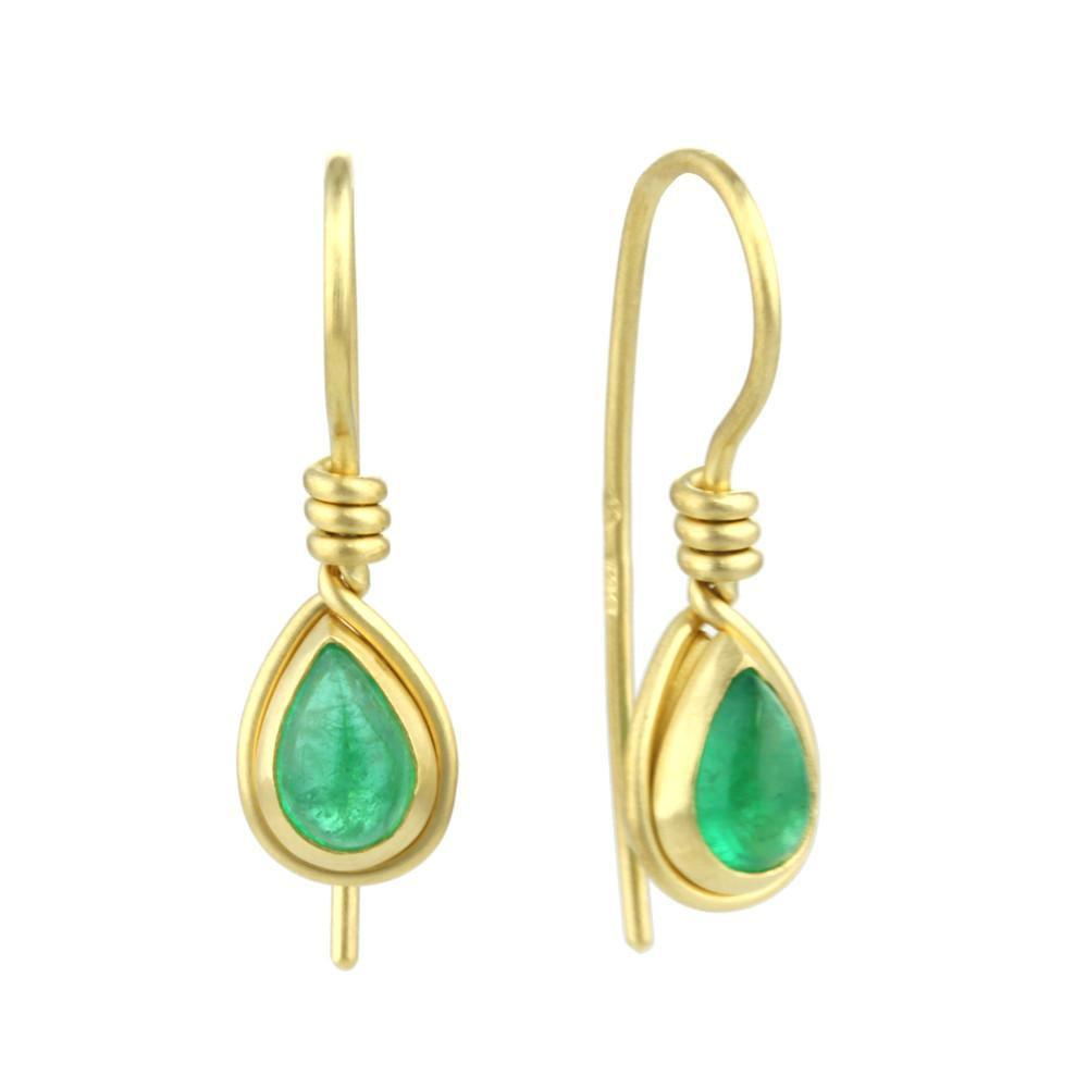 9kt Gold Emerald Teardrop Earrings-Earrings-Prism Design-JewelStreet