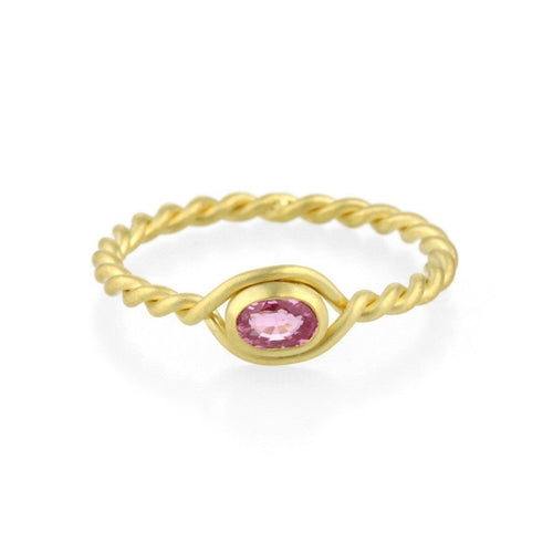 9kt Gold Pink Sapphire Twist Ring-Rings-Prism Design-JewelStreet