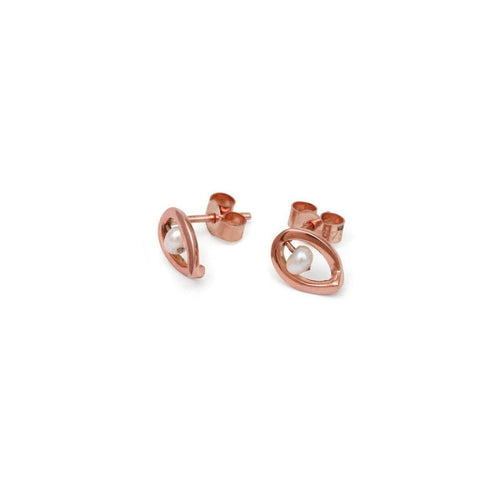 9kt Rose Gold Maia Earrings Down-Earrings-September Rose-JewelStreet