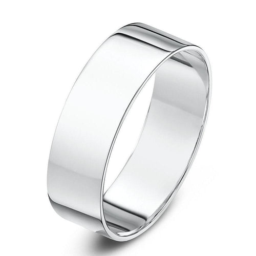 9kt White Gold Flat Wedding Ring (Available In Various Widths)-Rings-Star Wedding Rings-JewelStreet