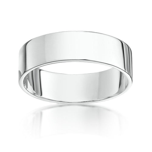 9kt White Gold Heavy Flat Wedding Ring (Available in Various Widths)-Rings-Star Wedding Rings-JewelStreet