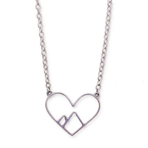 9kt White Gold Love the Mountains Necklace ,[product vendor],JewelStreet