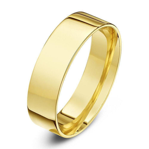 9kt Yellow Gold Flat Court-shape Wedding Ring (Available in Various Widths)-Rings-Star Wedding Rings-JewelStreet