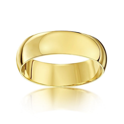 9kt Yellow Gold Heavy D-Shape Wedding Ring-Rings-Star Wedding Rings-JewelStreet