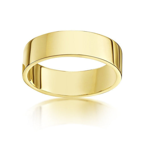 9kt Yellow Gold Heavy Flat Wedding Ring (Available in Various Widths)-Rings-Star Wedding Rings-JewelStreet