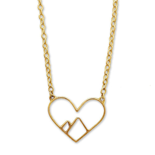 9kt Yellow Gold Love the Mountains Necklace ,[product vendor],JewelStreet