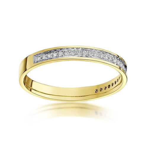 9kt Yellow Gold Round Diamond Eternity Wedding Ring-Rings-Star Wedding Rings-JewelStreet