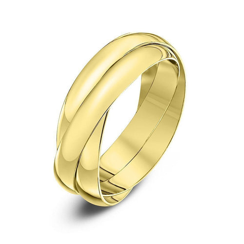 9kt Yellow Gold Russian Wedding Ring (Available in Various Widths)-Rings-Star Wedding Rings-JewelStreet