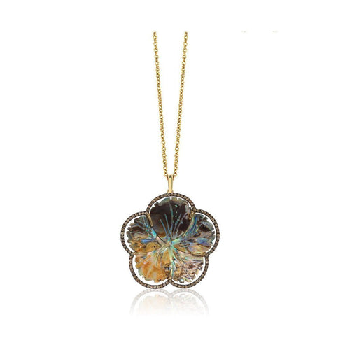 Abalone Mother of Pearl Carved Flower Pendant with Brown Diamonds-Necklaces-Goshwara-JewelStreet