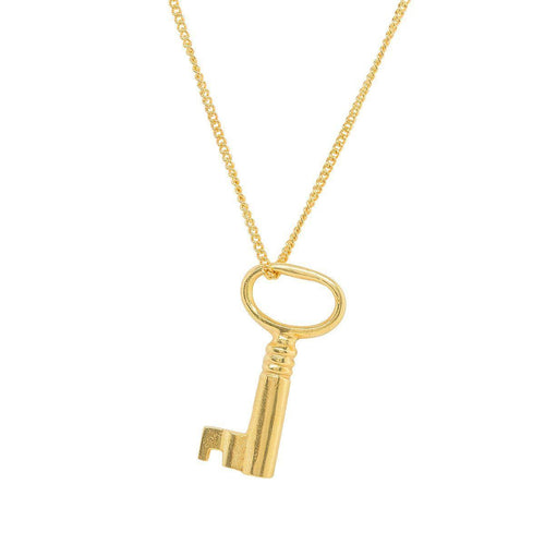 Adult Gold Plated Key Charm-Necklaces-Katie Mullally-JewelStreet
