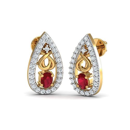 African Oval Cut Ruby and Diamond Earrings Hand-carved in 10kt Yellow Gold-Earrings-Diamoire Jewels-JewelStreet
