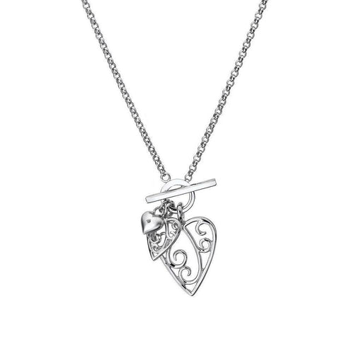 Aimee Silver & Diamond Heart Necklace-Necklaces-Lily and Lotty-JewelStreet