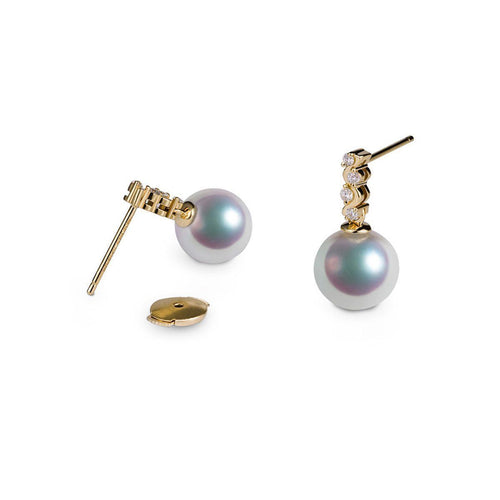 Akoya Pearl Diamond Earrings - 7.0-7.5mm Pearls-Earrings-SILVER YULAN-JewelStreet