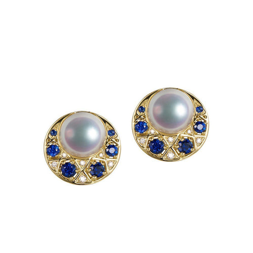 Akoya Pearl Sapphire Diamond Studs-Earrings-SILVER YULAN-JewelStreet
