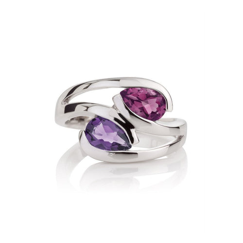 Amethyst and Rhodolite Love Birds Ring-Rings-MANJA Jewellery-JewelStreet