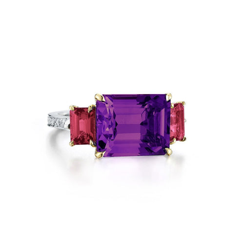 Amethyst And Ruby Florentine Ring-Rings-Paolo Costagli New York-JewelStreet
