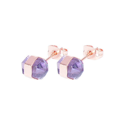 Amethyst Rose Gold Spear Studs ,[product vendor],JewelStreet
