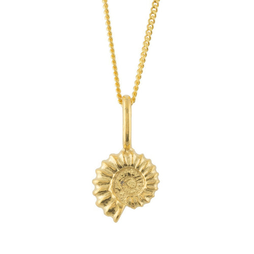 Ammonite Gold Plated Charm-Necklaces-Katie Mullally-JewelStreet