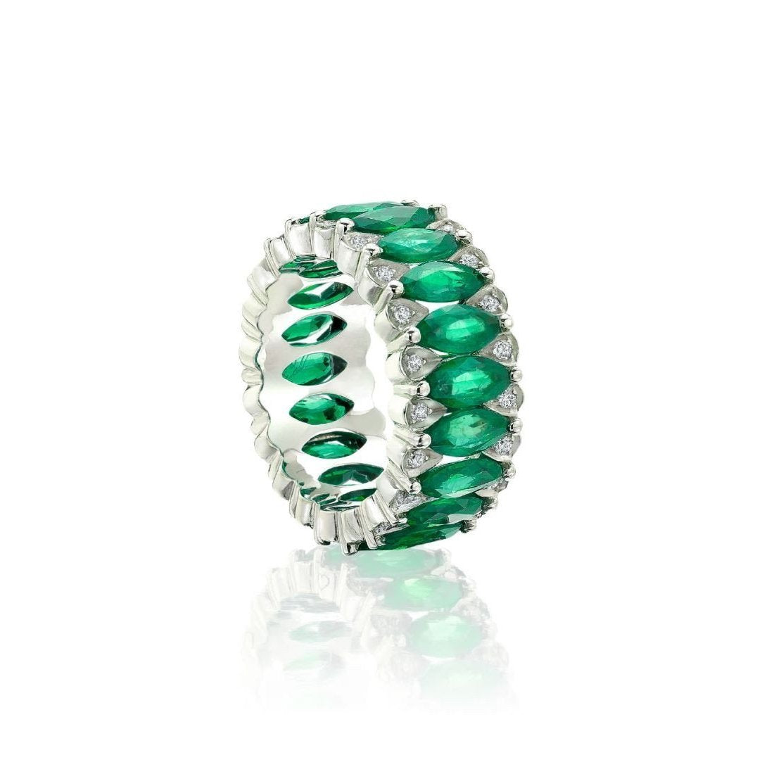 gold eternity matching infinity bands ring pave rose emerald pin band